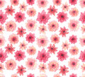 Watercolor Delicate Pink Flowers Seamless Repeat Pattern
