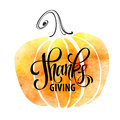 Watercolor design style Happy Thanksgiving Day. Give thanks, autumn design. Typography posters with pumpkin silhouette