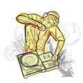 Watercolor dj battle in the city Stock Photography