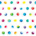 Watercolor dots pattern. Colorful polka dot pattern on a white background