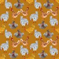 Animal seamless pattern with chicken and rooster. Hand-drawn watercolor illustration, ideal for printing on fabric, packaging.