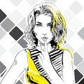 Fashion watercolour illustration, flirting sensual girl