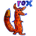 Watercolor drawing kids cartoon fox on white a background Stock Photos