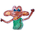 Watercolor drawing kids cartoon monkey on a white background Royalty Free Stock Photos
