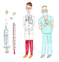 Watercolor drawing paining portrait of doctor and surgeon, set