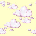 Watercolor drawing, pink clouds, seamless pattern, background, large objects