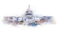 Watercolor drawing of the white house in Washington dc Royalty Free Stock Photo
