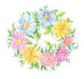 Watercolor drawing. Wreath of pink, blue and yellow flowers
