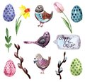 Happy easter watercolor elements isolated