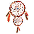 Watercolor dream catcher with blue point