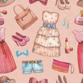Watercolor dresses and accessories seamless pattern with Stock Photos