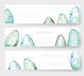 Watercolor Easter holiday cards, tags, banners set. Vector
