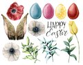 Watercolor easter rabbit ears, flowers and eggs set. Holiday collection with eucalyptus branch, anemone, tulip and Royalty Free Stock Photo
