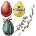 Watercolor Easter set with bright eggs and willow branch. Hand painted willow and festive eggs with decor. Holiday