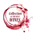 Watercolor emblem with wine stain vector spilled glasses Stock Image