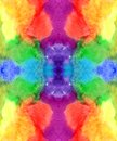 Watercolor endless rainbow colors background pattern: red orange yellow green blue purple violet