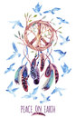 Watercolor ethnic dream catcher and peace sign. Royalty Free Stock Photo