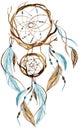 Watercolor ethnic dreamcatcher.