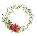 Watercolor eucalyptus wreath with bells, holly, mistletoe and poinsettia. Eucalyptus branch and christmas decor for