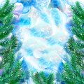 Watercolor evergreen spruce framing on free paint design background. Hand drawn christmas tree with snow cap. New Year 2017