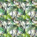 Watercolor exotic seamless pattern. Elephants with colorful tropical leaves. African animals background. Wildlife art Royalty Free Stock Photo
