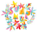 Watercolor exotic summertime background. Royalty Free Stock Photo