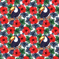 Watercolor exotic tropical flower hibiscus animal bird toucan seamless pattern texture background Royalty Free Stock Photo