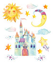 Watercolor fairy tale collection with magic castle, sun, moon, cute little star and fairy clouds Royalty Free Stock Photo