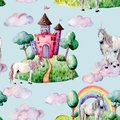 Watercolor fairy tale pattern witn unicorn, cloud and castle. Hand painted green trees and bushes, castle, rainbow