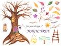 Watercolor fairy tree for design.