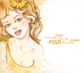 Watercolor fashion illustration Stock Images