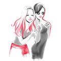 Watercolor fashion illustration with hugging girls
