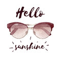 Watercolor fashion illustration with sunglasses isolated on white background and lettering.