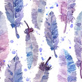 Watercolor feathers and blot seamless pattern.