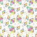 Watercolor Festa Junina Background Holiday. Seamless Pattern.