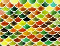 Watercolor fish scales. Bright summer pattern with reptilian scales.