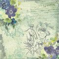 Watercolor Floral Background Papers - Collage Papers - Blue Yellow Green Florals - Shabby Chic