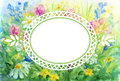 Watercolor floral background with vignette frame