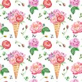 Watercolor floral botanical seamless pattern with peonies, roses and green leaves on white background