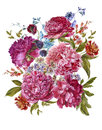 Watercolor Floral Bouquet with Burgundy Peonies in