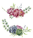 Watercolor floral composition isolated on white background. Vintage style posy set with eucalyptus branches, succulents