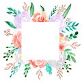 Watercolor floral frame border - flower illustration for wedding, anniversary, birthday, invitations, romantic events.