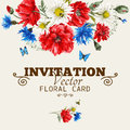 Watercolor floral greeting card with red poppies Royalty Free Stock Photo