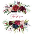 Watercolor floral illustration - burgundy flowers border / frame Royalty Free Stock Photo