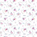 Watercolor floral pattern. Seamless pattern with purple, gold and pink bouquet on white background. Flowers, roses Royalty Free Stock Photo