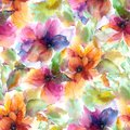 Seamless floral pattern. Watercolor flowers background. Colorful flowers.