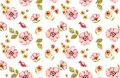 Watercolor floral seamless pattern. Autumn plants. Pink flowers: rose hip fruits, briar, leaves, isolated on white