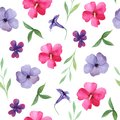 Watercolor floral seamless pattern, pink and purple flowers, leaves.