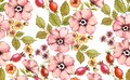 Watercolor floral seamless pattern. Shabby rose flowers. Autumn background. Pink rose hip fruits, briar, leaves on white