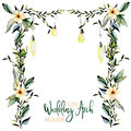 Watercolor floral wedding arch with hanging lamps for bridal design